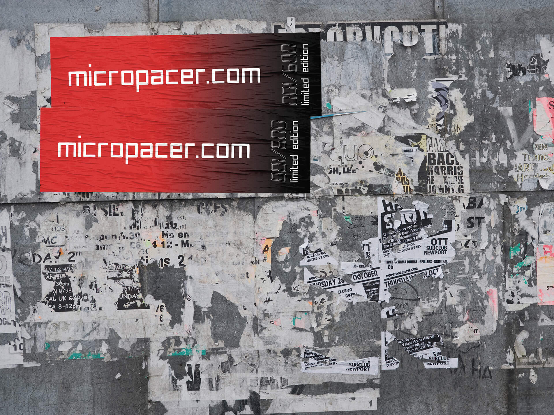 Torn posters on neglected fly-posting site UK